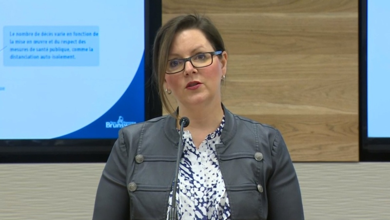 Dr. Jennifer Russell, New Brunswick's chief medical officer of health, provides an update on COVID-19 during a news conference in Fredericton on April 9, 2020.