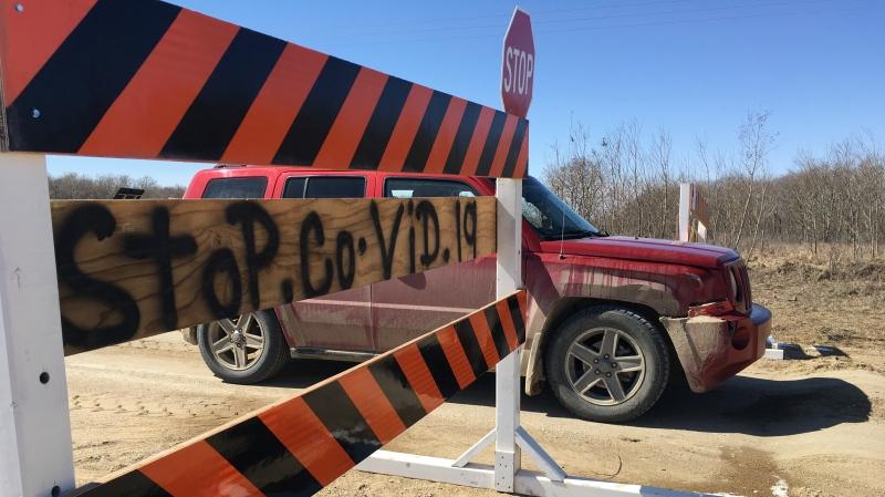 A checkpoint heading into Carry the Kettle Nakoda Nation amid COVID-19 (Cole Davenport / CTV News Regina)