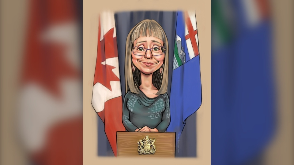 Laurel Hawkswell created the caricature of Hinshaw after being commissioned by a mental health worker who 'finds her inspiring,' she said. April 9, 2020. (Courtesy Laurel Hawkswell)