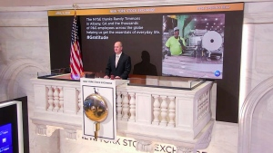 On behalf of The New York Stock Exchange, Thursday, April 9, 2020, Kevin Fitzgibbons, Chief Security Officer, rings The Opening Bell, to thank Randy Timmons in Albany, Georgia and the thousands of P&G employees across the globe helping get the essentials of everyday life. (NYSE Screen Shot/New York Stock Exchange via AP Images)