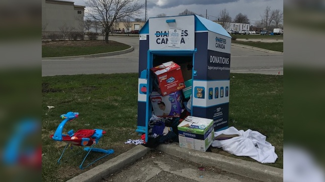 Overflowing charitable bin in London, Ont.