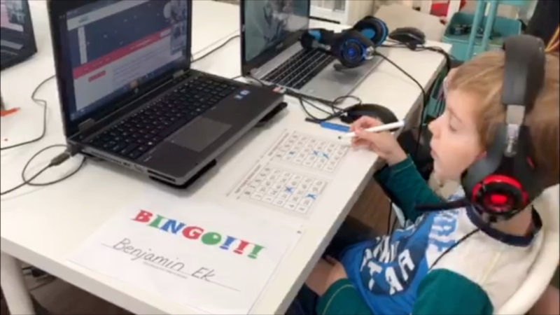A young neurosurgery patient plays 'virtual bingo,' which the Neurosurgery Kids Fund is hosting during the COVID-19 pandemic. (Submitted)