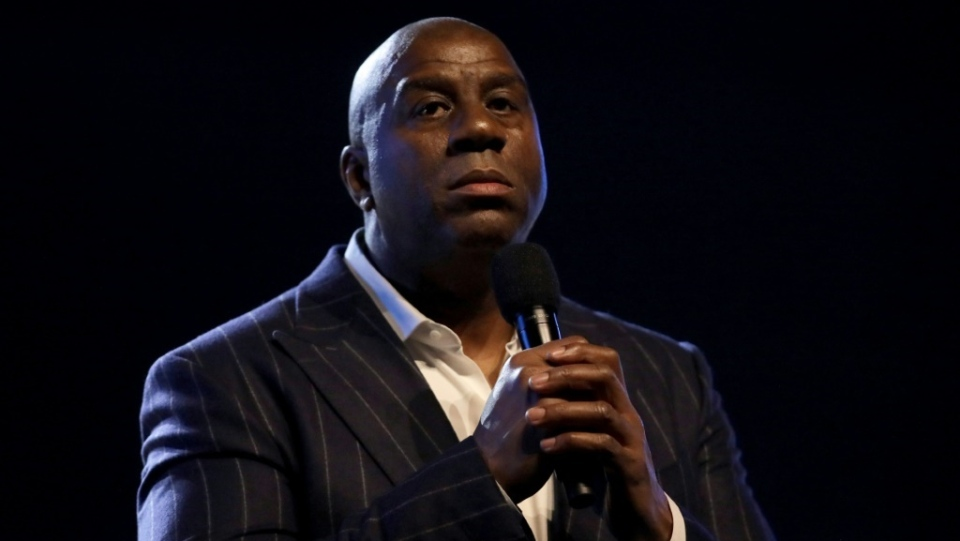 Magic Johnson, shown here speaking at 69th NBA All-Star Game in February, sees a glimmer of hope that the NBA can finish the season amid the coronavirus epidemic. (AFP)