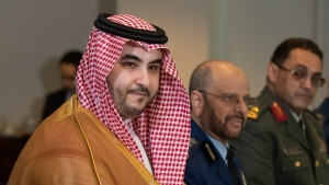 FILE - In this Aug. 29, 2019 file photo, Saudi Deputy Defense Minister Prince Khalid bin Salman meets with Secretary of Defense Mark Esper at the Pentagon. On Thursday, April 9, 2020, a cease-fire proposed by the Saudi-led coalition fighting Iran-backed Houthi rebels in Yemen has gone into effect. (AP Photo/Manuel Balce Ceneta, File)