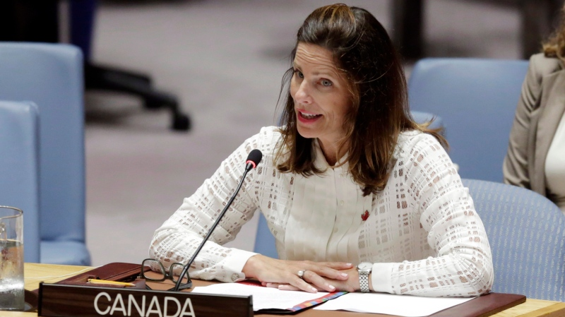 Canada's Deputy Permanent Representative Louise Blais addresses the United Nations Security Council, Wednesday, Aug. 29, 2018. (THE CANADIAN PRESS/AP/Richard Drew)