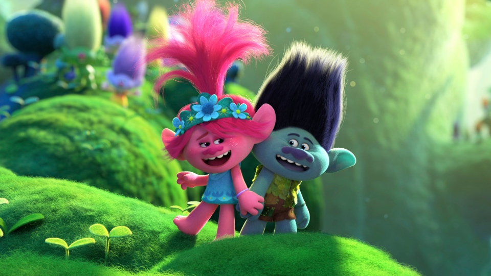 This image released by DreamWorks Animation shows characters Branch, voiced by Justin Timberlake, right, and Poppy, voiced by Anna Kendrick in a scene from