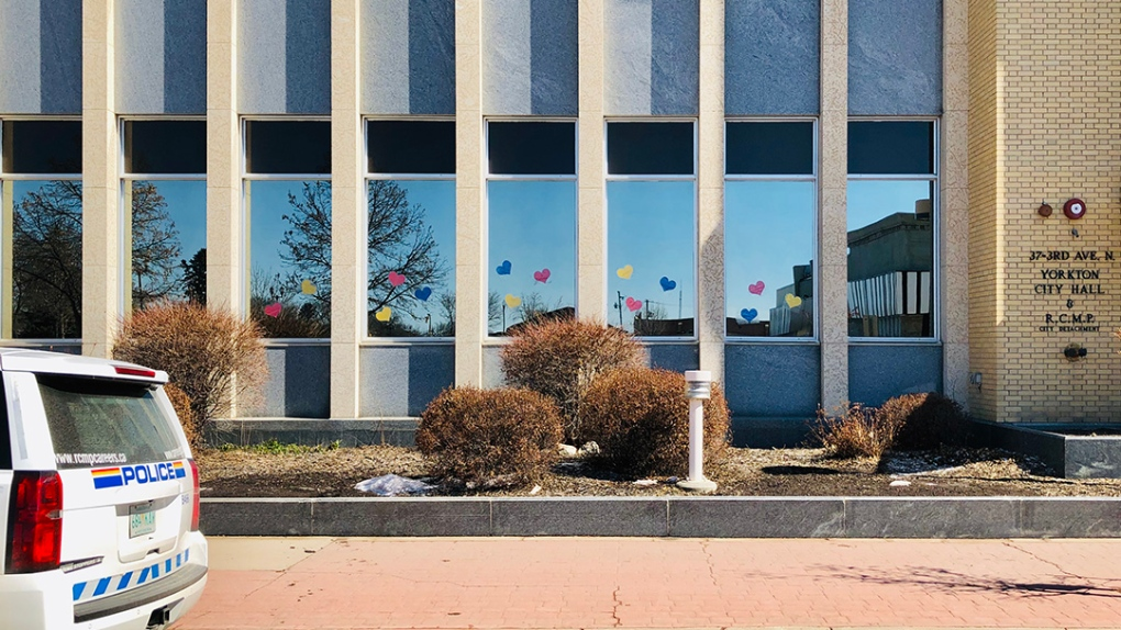 Hearts in the window - yorkton RCMP