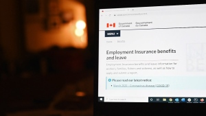 The employment insurance section of the Government of Canada website is shown on a laptop in Toronto on April 4, 2020. The federal government is looking at ways to speed-up the introduction of skills-training help for out-of-work Canadians, say groups involved in helping implement the program. THE CANADIAN PRESS/Jesse Johnston