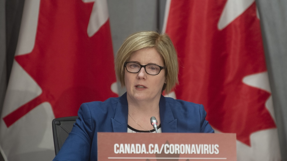 Employment, Workforce Development and Disability Inclusion Minister Carla Qualtrough speaks during a news conference in Ottawa, Thursday March 26, 2020. THE CANADIAN PRESS/Adrian Wyld