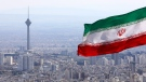 Iran's national flag waves as Milad telecommunications tower and buildings are seen in Tehran, Iran, Tuesday, March 31, 2020. (AP Photo/Vahid Salemi)