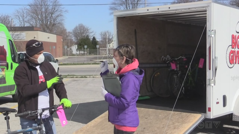 Big Bike Giveaway in London, Ont. on April 11, 2020. (Brent Lale/CTV London)