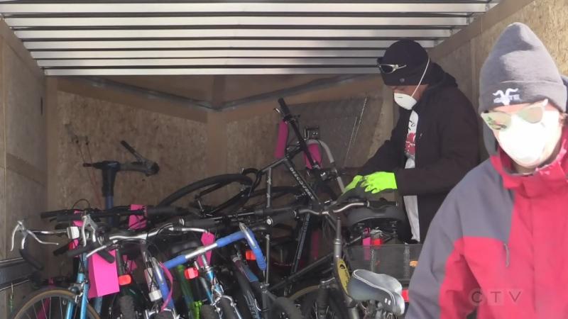 Big Bike Giveaway in London, Ont. on April 11, 2020. (Brent Lale/CTV London)