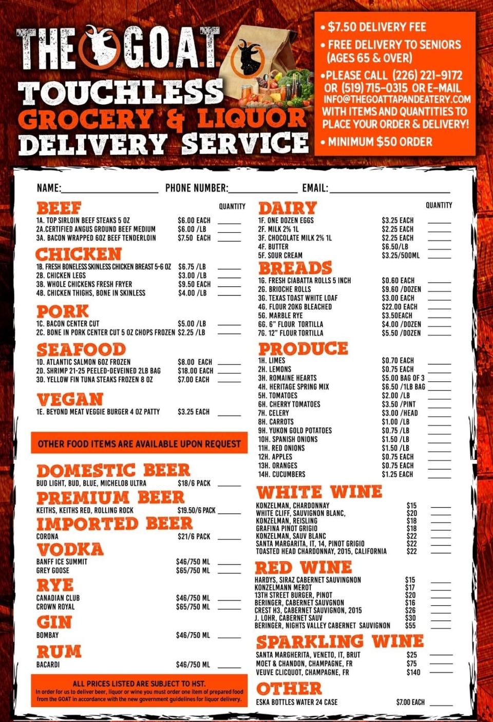 G.O.A.T. Tap and Eatery delivery menu