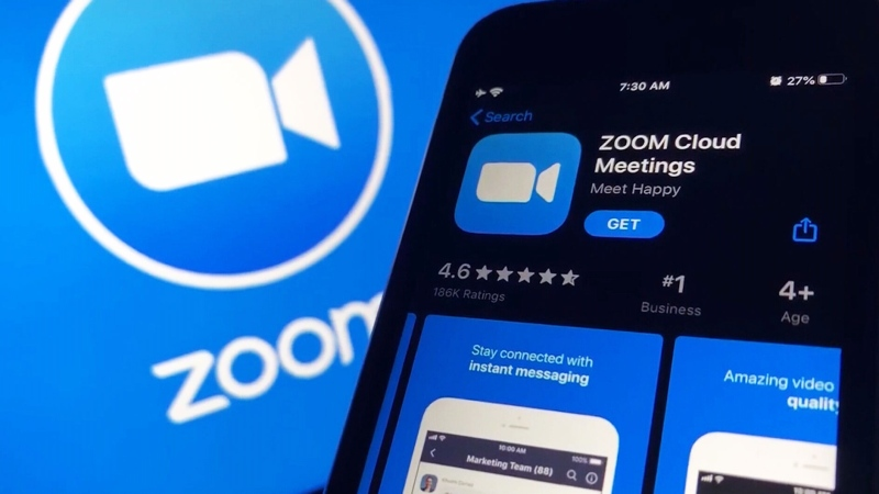 The Zoom app is pictured in this file photo.