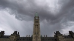FILE - Dark clouds pass by the Parliament buildings in Ottawa on Thursday, May 19, 2016. THE CANADIAN PRESS/Adrian Wyld