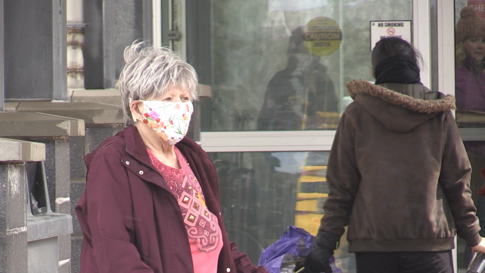 woman wearing a homemade non-medical mask in Sault