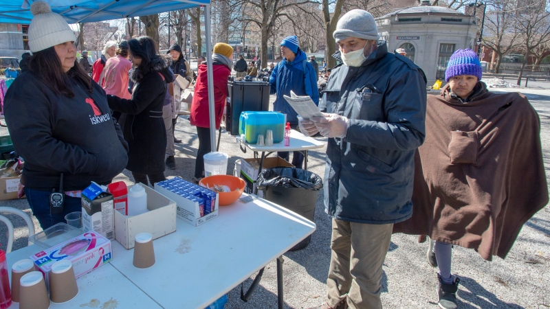 Resilience Montreal volunteers give food and aid to the homeless on Friday, March 27, 2020 in Montreal.THE CANADIAN PRESS/Ryan Remiorz