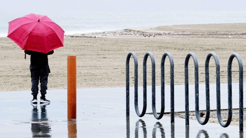 A person is seen holding an umbrella in this undated file photo. (The Canadian Press)