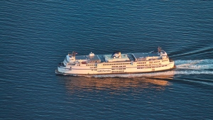 A BC Ferries vessel is seen from the air in 2019. (Pete Cline / CTV News Vancouver)