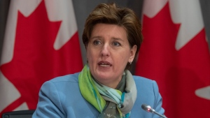 Minister of Agriculture and Agri-Food Minister Marie-Claude Bibeau speaks during a news conference on the COVID-19 virus in Ottawa, Monday March 23, 2020. THE CANADIAN PRESS/Adrian Wyld