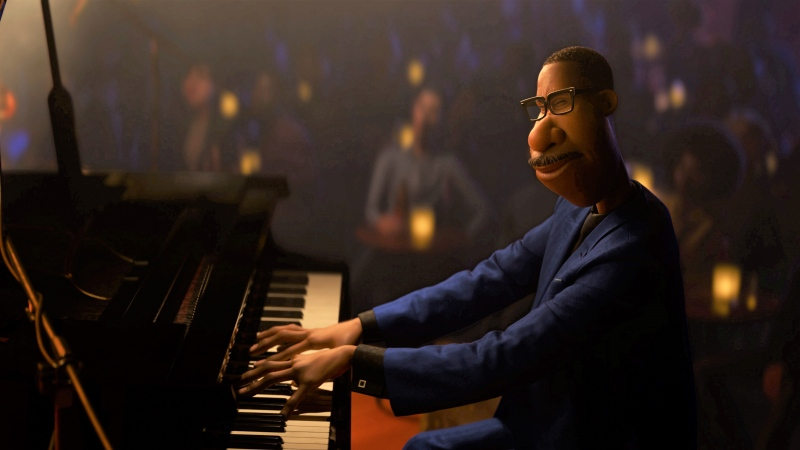 "This image released by Disney/Pixar shows Joe Gardner, voiced by Jamie Foxx, from the animated film ""Soul."" (Disney-Pixar via AP)"