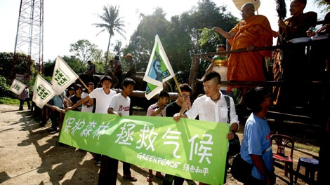 Greenpeace protesters en route to the climate change meeting in Bangkok, Thailand on Sept. 13, 2009. (Greenpeace)