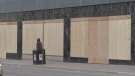 Businesses are boarded up in downtown London, Ont. to combat break-ins and vandalism, Monday, April 13, 2020. (Daryl Newcombe / CTV London)