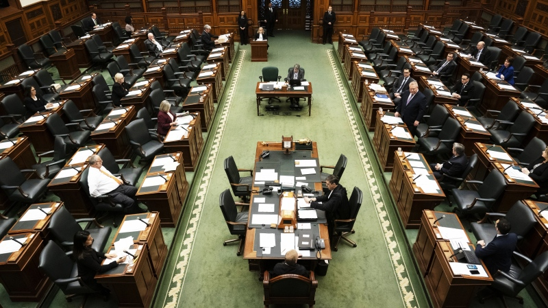 Ontario Premier Doug Ford introduces legislation at Queen's Park in Toronto on Thursday March 19, 2020. Only minimum representation from all parties were present to prevent unnecessary crowding. (The Canadian Press)