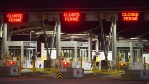 The Canadian border is pictured at the Peace Arch Canada/USA border crossing in Surrey, B.C. Friday, March 20, 2020. THE CANADIAN PRESS/Jonathan Hayward