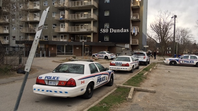 Police work at the scene of a shooting in London, Ont. on Tuesday, April 14, 2020. (Nick Paparella / CTV London)