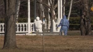 Investigators respond to the death of a man at Wilmot Park in Fredericton on April 15, 2020.