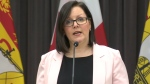 Dr. Jennifer Russell provides an update on COVID-19 at a news conference in Fredericton on Wednesday.