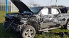 A black truck was involved in the crash in Leamington, Ont., on Wednesday, April 15, 2020. (Courtesy OPP)