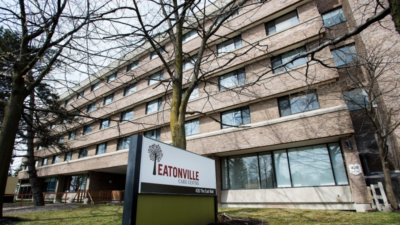 The Eatonville Care Centre, where multiple deaths from COVID-19 have occurred, is shown in Toronto on Tuesday, April 14, 2020. THE CANADIAN PRESS/Nathan Denette
