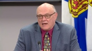 Nova Scotia's chief medical officer of health, Dr. Robert Strang, provides an update on COVID-19 during a news conference in Halifax on April 15, 2020.
