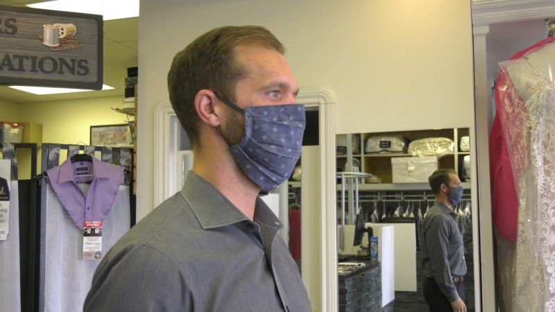A cloth mask made by Classic Cleaners and Tailors in Red Deer. (CTV News Edmonton)