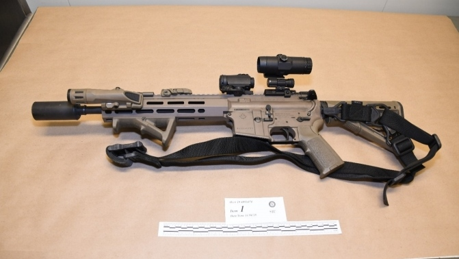 The police officer's C8 rifle used to shoot suspec