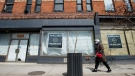 Space available on storefronts is shown on Queen Street in Toronto on Thursday, April 16, 2020. (THE CANADIAN PRESS / Nathan Denette)
