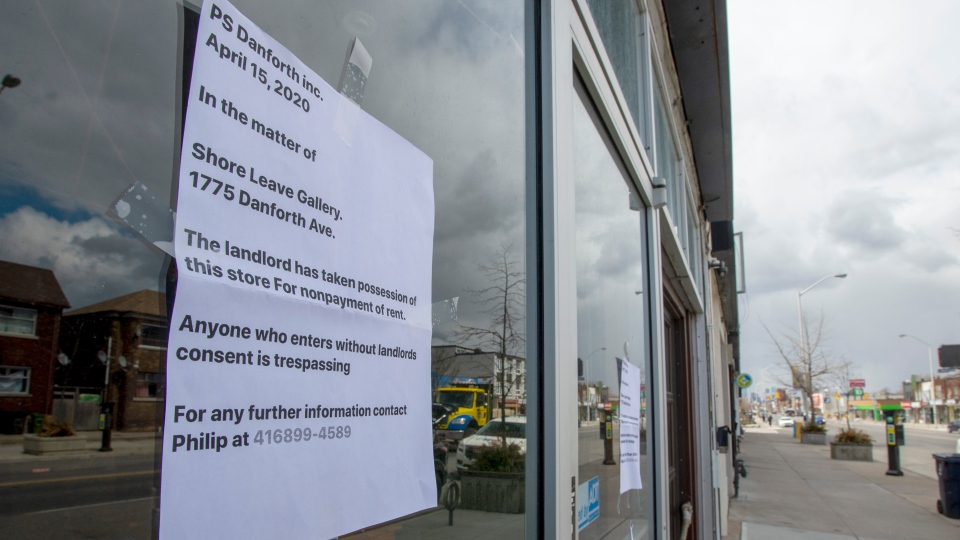 An eviction/trespass notice posted in the window of a store in Toronto on Thursday, April 16, 2020. THE CANADIAN PRESS/Frank Gunn