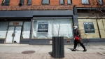 Space available on storefronts is shown on Queen Street in Toronto on Thursday, April 16, 2020. Health officials and the government have asked that people stay inside to help curb the spread of COVID-19. (Nathan Denette/The Canadian Press)