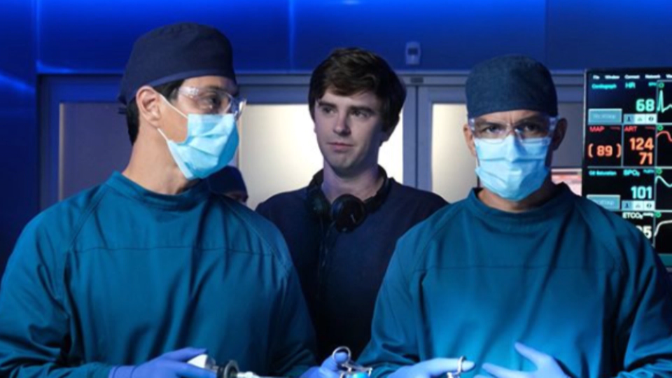 A still image from video shows actor Freddie Highmore (centre) in a scene from 'The Good Doctor.'