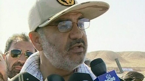 This image released Sunday Sept. 27, 2009, on Iranian state TV cannel IRIB, shows Gen. Hossein Salami, head of the Revolutionary Guard Air Force., as he tells reporters that Iran tested a multiple missile launcher for the first time. (AP / IRIB, via APTN)