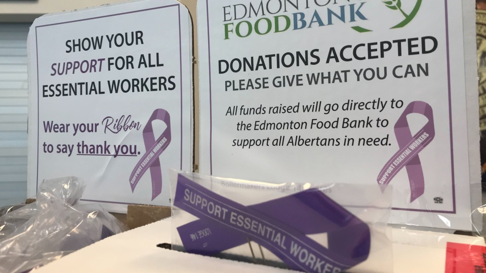 Purple ribbon food bank
