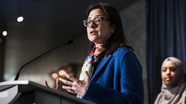 Toronto's Medical Officer of Health Dr. Eileen de Villa speaks to the media at city hall in Toronto, on Wednesday, April 24, 2019. (Christopher Katsarov/The Canadian Press)
