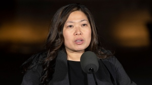 Small Business, Export Promotion and International Trade Minister Mary Ng responds to a reporters question following a ceremony in Ottawa, Wednesday November 20, 2019. THE CANADIAN PRESS/Adrian Wyld