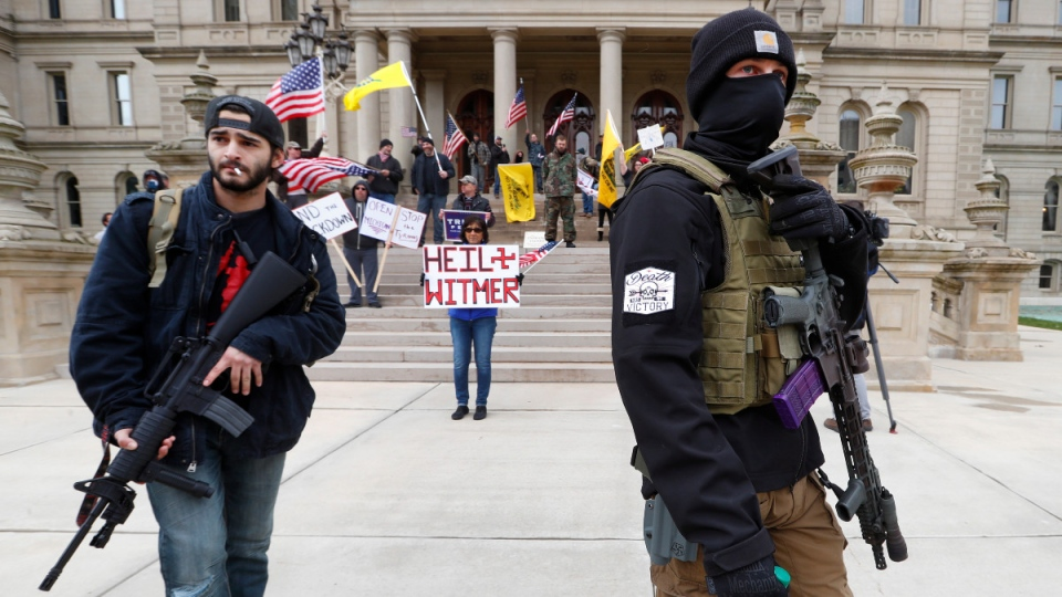 Protesters at the Michigan State Capitol
