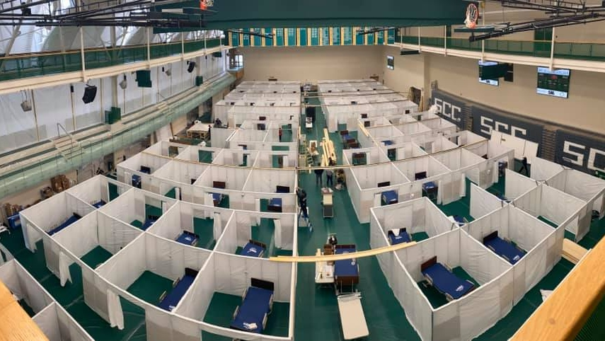 Windsor field hospital at the St. Clair College Sportsplex in Windsor, Ont. (Courtesy Windsor Regional Hospital)