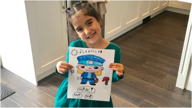 Here's Isabella, she's in kindergarten and wanted to draw a picture of a postal worker to say 'merci!' for delivering our packages and mail every day!