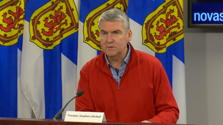 Nova Scotia Premier Stephen McNeil provides an update on COVID-19 during a news conference in Halifax on April 17, 2020.