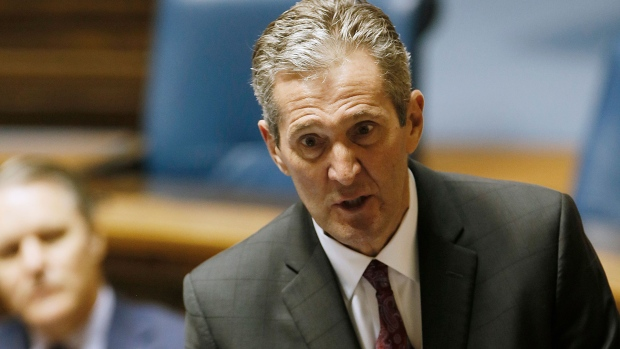Manitoba Premier Brian Pallister speaks at an emergency COVID-19 physically distanced session at the Manitoba Legislature in Winnipeg, Wednesday, April 15, 2020. THE CANADIAN PRESS/John Woods